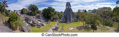 Tikal Panoramic - Panoramic image of the the Mayan ruins of...