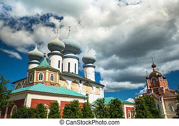 Tikhvin Assumption Monastery in Russia.