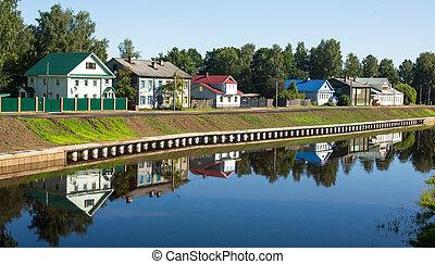 Tikhvinka River in Tikhvin, Russia.