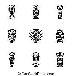 Tiki aztec idol icon set. Simple set of 9 tiki aztec idol icons for web design isolated on white background