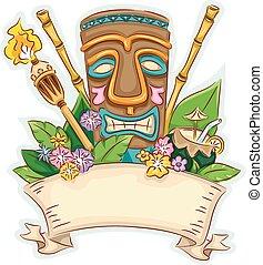 Tiki Banner - Banner Illustration Featuring a Tiki ...