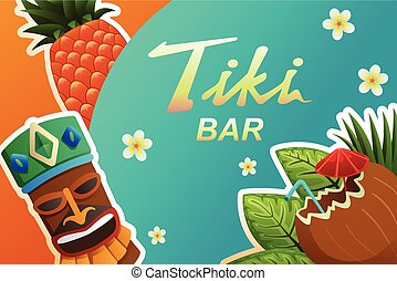 Tiki Bar Poster Illustration