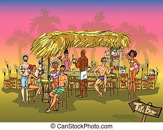 Tiki Bar vector background - Tiki Bar Collection, Hand drawn...