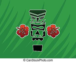 Tiki Design - Tiki God Statue with Hibiscus