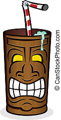 Tiki Drink Cup Cartoon Character - A wooden tiki cup full of...