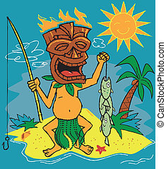 Fisherman with flaming tiki mask and a stringer of pirahna