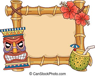 Tiki Frame - Frame Illustration Featuring Hawaii Related...