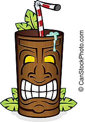 Tiki God Wooden Cup Cartoon - A carved wooden tiki cup...