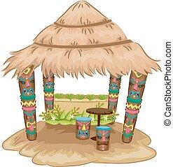 Tiki Hut House - Illustration of a Tiki-themed Hut with Tiki...