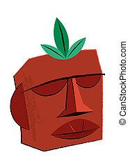 Tiki Idol Illustration - Classic Hawaiian Tiki Idol statue...