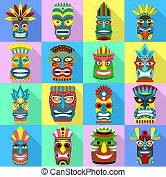 Tiki idols icons set, flat style