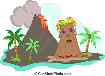 Tiki Island with Lava Flow