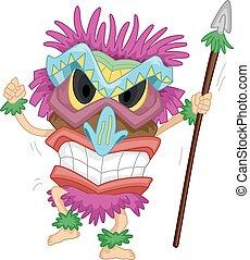 tiki, maschera, costume, lancia, nativo