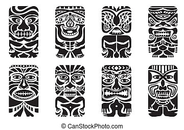 Tiki Mask - easy to edit vector illustration of tiki mask