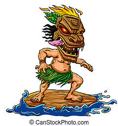 tiki, surfer
