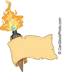 Tiki Torch Banner - Banner Illustration Featuring a Tiki...