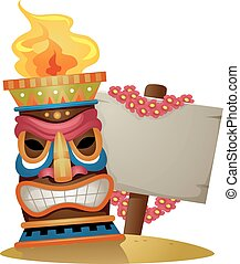 Tiki Torch Sign Blank Board - Illustration of a Tiki Torch...