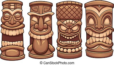 Cartoon tiki totems. Vector clip art illustration with simple gradients. Each on a separate layer.