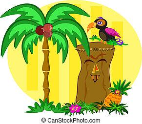 tiki, toucan, vogel, kleurrijke, vrolijke