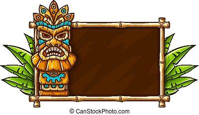 Tiki traditional hawaiian tribal mask. Vector illustration.