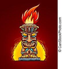 Tiki traditional hawaiian tribal mask with fire. Vector.