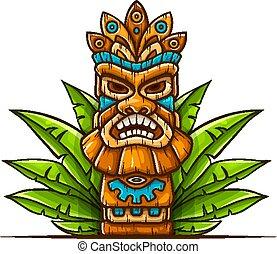 Tiki traditional hawaiian tribal mask