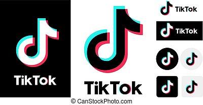 TikTok logo set variation on white background. Vector