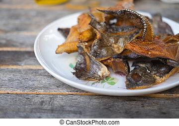 tilapia, jadło, fish, drewno, zachwycający, stół, thai, smażył