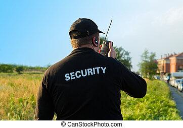tilbage, i, en, security bevogt