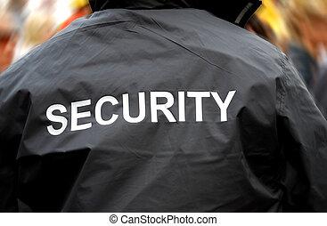 tilbage, i, en, security bevogt, uden for, slør, flok