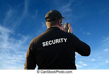 tilbage, i, security bevogt