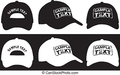 tilbage, side, cap, vektor, baseball, udsigter., forside