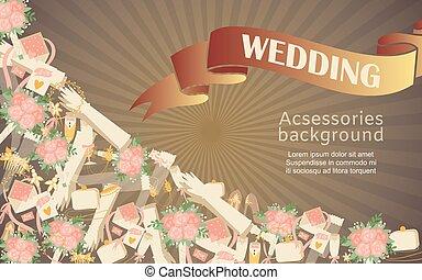 tilbehør, plakat, bags, illustration., brude, handsker, bouquets, bryllup, vektor, mode formgiv, tekst