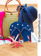 tilbehør, solbad, sandet strand