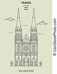 tilburg, ジョセフ;セイント, 教会, ランドマーク, netherlands., アイコン