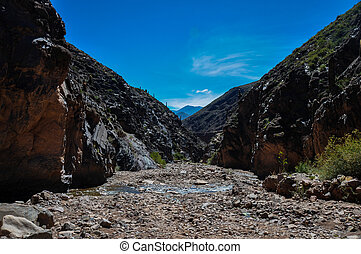 Tilcara Canyon with water flowing, North Argentina.