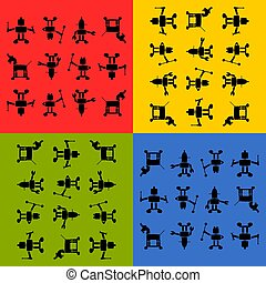 Tile able robots silhouetts pattern