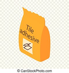 Tile adhesive icon, isometric 3d style - Tile adhesive icon...