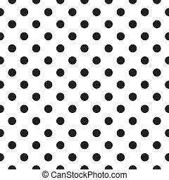 Tile black polka dots white pattern