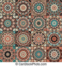 Tile Boho Flower Set - Boho tile set and seamless pattern. ...