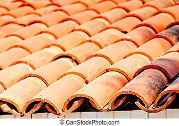 tile brown clay closeup