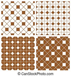 Tile brown vector background set