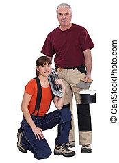 Tile cutter and female helper