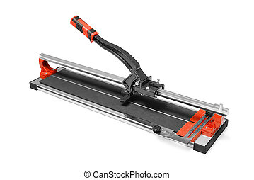 Manual tile cutter isoplated on white