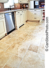 Tile floor in modern kitchen - Ceramic tile floor in a ...