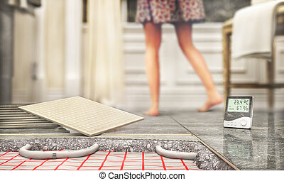 Tile floor with floor heating. 3d illustration