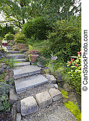 Garden Cement Tile Stair Steps Leading up to Backyard Patio