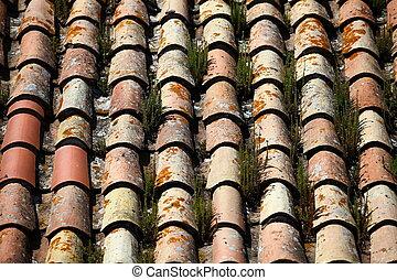 tile roof grassy