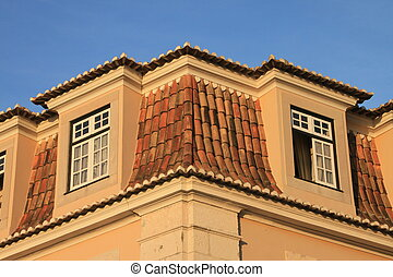 Tile roof in Lisbon (Portugal)