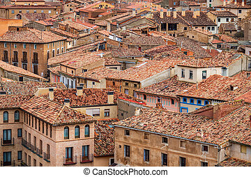 Tile roofs in the antique village of Daroca, top view